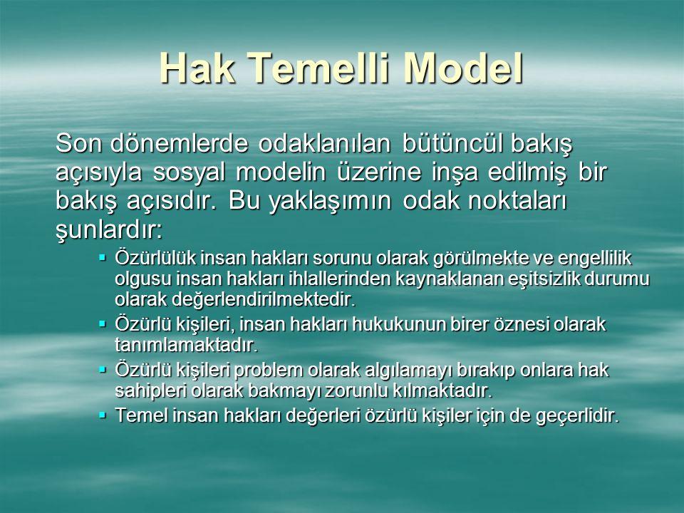 Hak Temelli Model Son dönemlerde odaklanılan bütüncül bakış açısıyla sosyal modelin üzerine inşa edilmiş bir bakış açısıdır. Bu yaklaşımın odak noktal