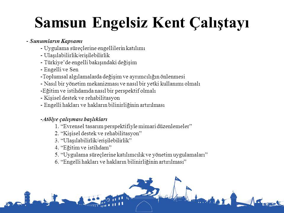 Samsun Engelsiz Kent Çalıştayı - Sunumların Kapsamı - Uygulama süreçlerine engellilerin katılımı - Ulaşılabilirlik/erişilebilirlik - Türkiye'de engell