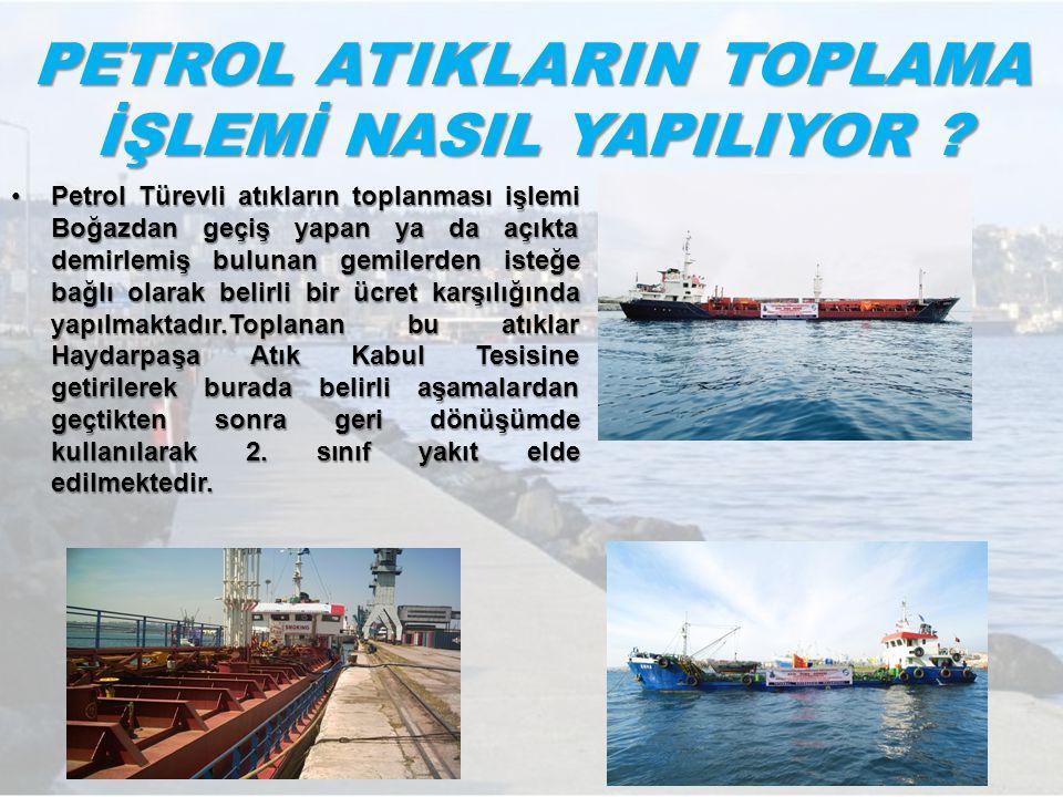 PETROL ATIKLARIN TOPLAMA İŞLEMİ NASIL YAPILIYOR ? Petrol Türevli atıkların toplanması işlemi Boğazdan geçiş yapan ya da açıkta demirlemiş bulunan gemi