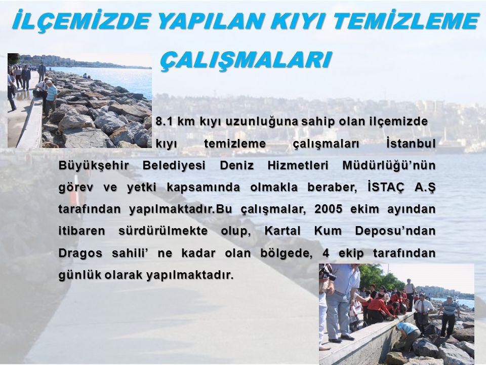 İLÇEMİZDE YAPILAN KIYI TEMİZLEME ÇALIŞMALARI 8.1 km kıyı uzunluğuna sahip olan ilçemizde kıyı temizleme çalışmaları İstanbul Büyükşehir Belediyesi Den