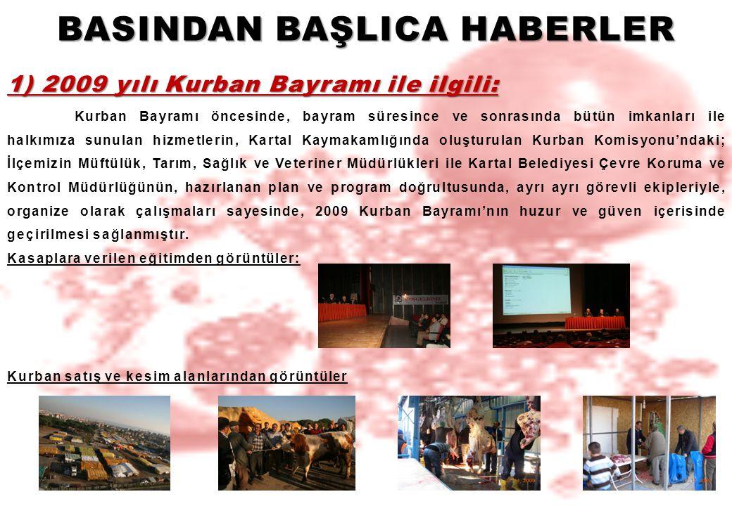 BASINDAN BAŞLICA HABERLER 1) 2009 yılı Kurban Bayramı ile ilgili: Kurban Bayramı öncesinde, bayram süresince ve sonrasında bütün imkanları ile halkımı
