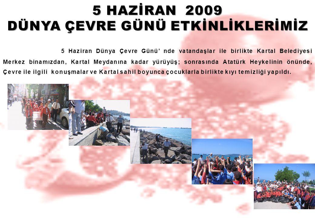 5 HAZİRAN 2009 DÜNYA ÇEVRE GÜNÜ ETKİNLİKLERİMİZ 5 Haziran Dünya Çevre Günü' nde vatandaşlar ile birlikte Kartal Belediyesi Merkez binamızdan, Kartal M