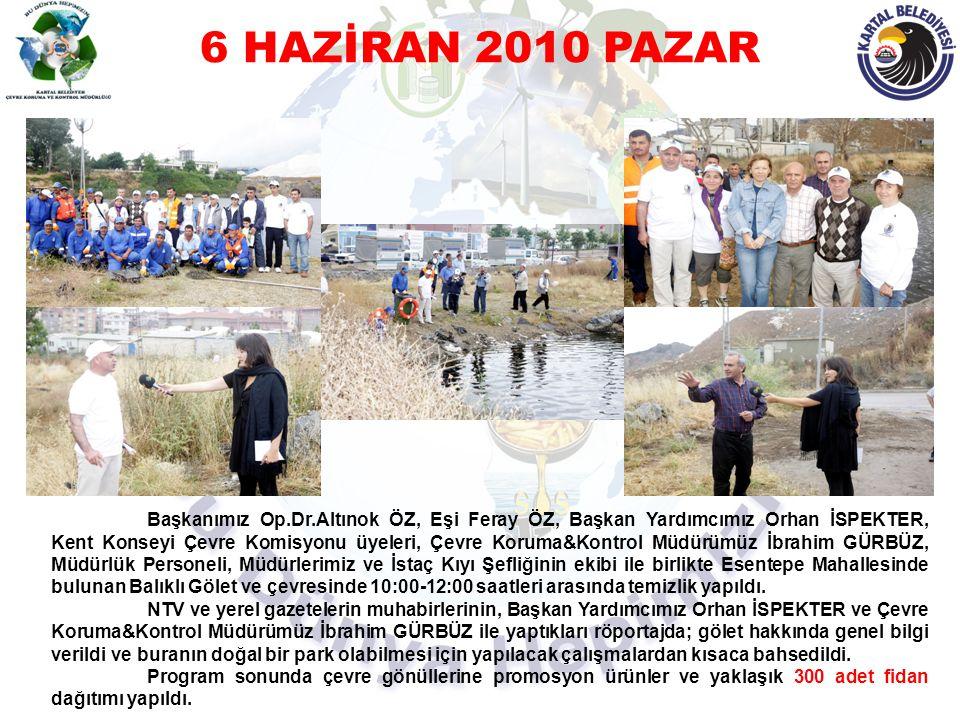 6 HAZİRAN 2010 PAZAR Başkanımız Op.Dr.Altınok ÖZ, Eşi Feray ÖZ, Başkan Yardımcımız Orhan İSPEKTER, Kent Konseyi Çevre Komisyonu üyeleri, Çevre Koruma&