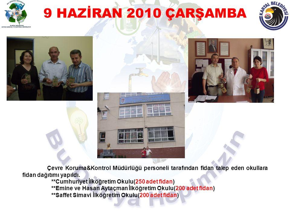 9 HAZİRAN 2010 ÇARŞAMBA Çevre Koruma&Kontrol Müdürlüğü personeli tarafından fidan talep eden okullara fidan dağıtımı yapıldı. **Cumhuriyet İlköğretim