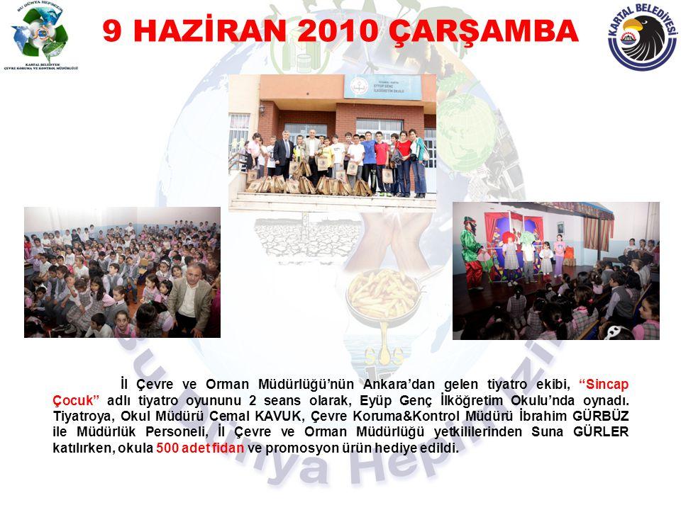 """9 HAZİRAN 2010 ÇARŞAMBA İl Çevre ve Orman Müdürlüğü'nün Ankara'dan gelen tiyatro ekibi, """"Sincap Çocuk"""" adlı tiyatro oyununu 2 seans olarak, Eyüp Genç"""