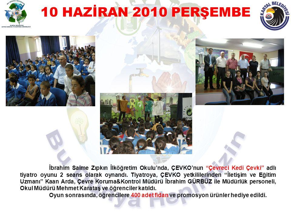 """10 HAZİRAN 2010 PERŞEMBE İbrahim Saime Zıpkın İlköğretim Okulu'nda, ÇEVKO'nun """"Çevreci Kedi Çevki"""" adlı tiyatro oyunu 2 seans olarak oynandı. Tiyatroy"""