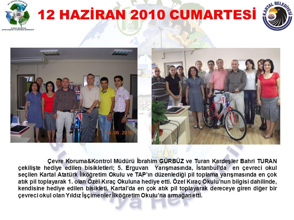 12 HAZİRAN 2010 CUMARTESİ Çevre Koruma&Kontrol Müdürü İbrahim GÜRBÜZ ve Turan Kardeşler Bahri TURAN çekilişte hediye edilen bisikletleri; 5. Erguvan Y