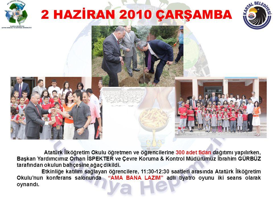 3 HAZİRAN 2010 PERŞEMBE Kartal Doğa Koleji, Yavuz Selim İlköğretim Okulu ve Nihat Erim İlköğretim Okulu'na Başkan Yardımcımız Orhan İSPEKTER, Çevre Koruma & Kontrol Müdürü İbrahim GÜRBÜZ ve Müdürlük personeli ile birlikte, okul bahçelerine dikilmek üzere 250'şer adet fidan dağıtıldı ve öğrencilere dağıtılmak üzere promosyon ürünler hediye edildi.
