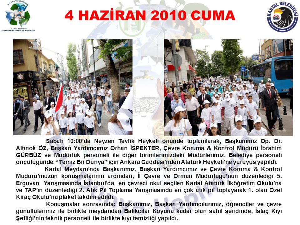 4 HAZİRAN 2010 CUMA Çevre Yürüyüşü ve Kıyı Temizliğine Katılım Sağlayan Okullar 1- Milli Eğitim Vakfı İlköğretim Okulu – (20 öğrenci) 2- İstanbul Menkul Kıymetler Borsası Meslek Lisesi - (16 öğrenci) 3- Hasanpaşa İlköğretim Okulu - (11 öğrenci) 4- 100 Yıl Ali Rıza Efendi İlköğretim Okulu - (31 öğrenci) 5- 50.Yıl General Refet Bele İlköğretim Okulu - (32 Öğrenci) 6- İstek Ulubey Okulu - (76 öğrenci) 7- Kıraç İlköğretim Okulu - (37 öğrenci) 8- Nihat Erim İlköğretim Okulu - (19 öğrenci) 9- Vali Erol Çakır Lisesi - (24 öğrenci) 10- Emir Sencer İlköğretim Okulu - (32 öğrenci) 11- Saffet Simavi İlköğretim Okulu - (30 öğrenci) 12- Medine Tayfur Lisesi - (20 öğrenci) 13- Yıldız İşçimenler İlköğretim Okulu - (19 öğrenci) Toplam 367 öğrenci, 40 öğretmen, yaklaşık 400 çevre gönüllüsünü promosyon ürün ve fidan hediye edildi.