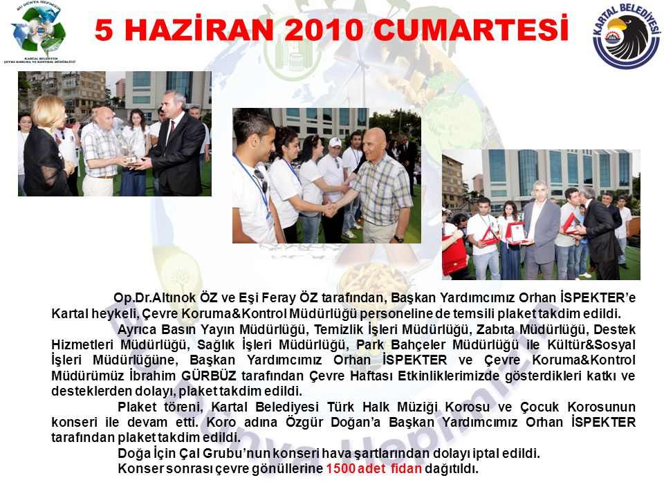 5 HAZİRAN 2010 CUMARTESİ Op.Dr.Altınok ÖZ ve Eşi Feray ÖZ tarafından, Başkan Yardımcımız Orhan İSPEKTER'e Kartal heykeli, Çevre Koruma&Kontrol Müdürlü