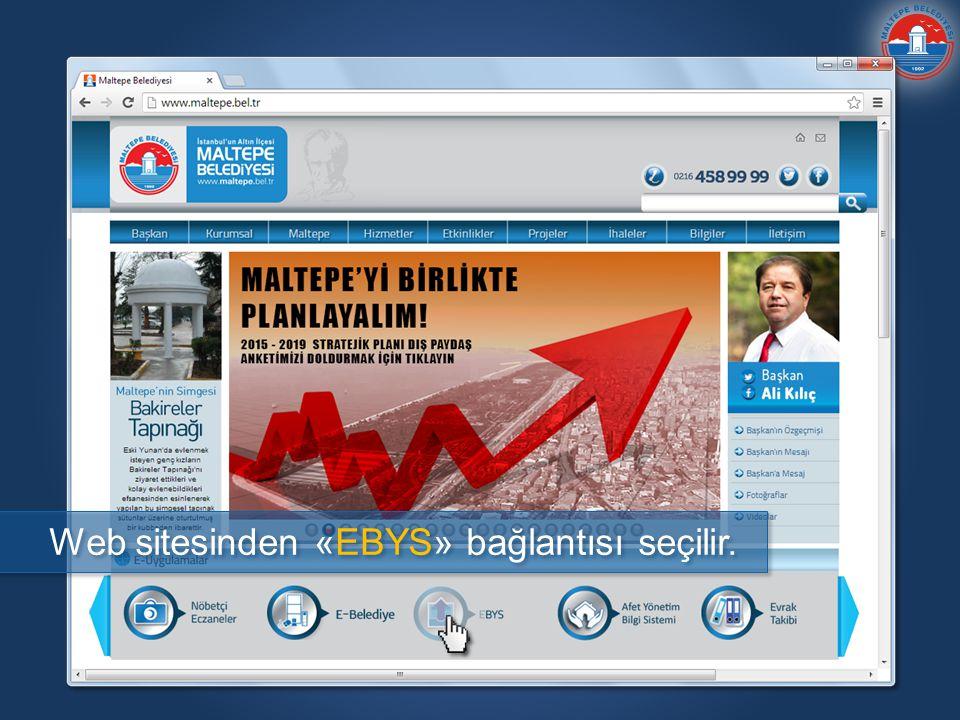Web sitesinden «EBYS» bağlantısı seçilir.