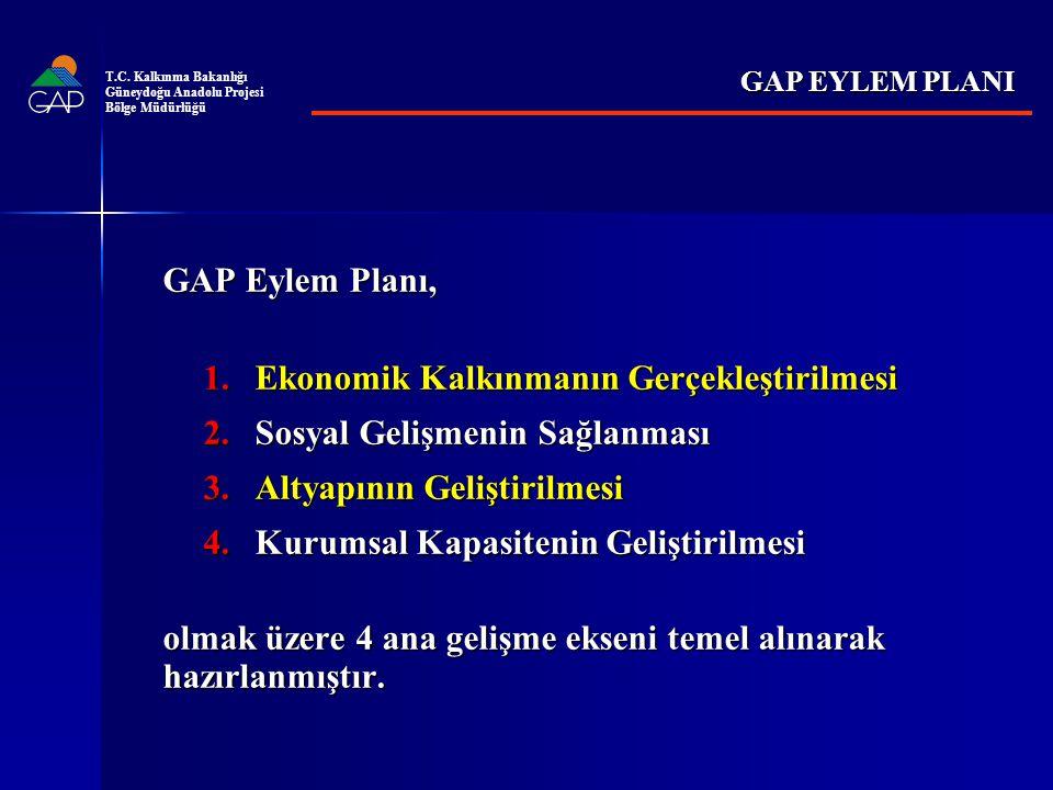 GAP Eylem Planı, 1.Ekonomik Kalkınmanın Gerçekleştirilmesi 2.Sosyal Gelişmenin Sağlanması 3.Altyapının Geliştirilmesi 4.Kurumsal Kapasitenin Geliştirilmesi olmak üzere 4 ana gelişme ekseni temel alınarak hazırlanmıştır.