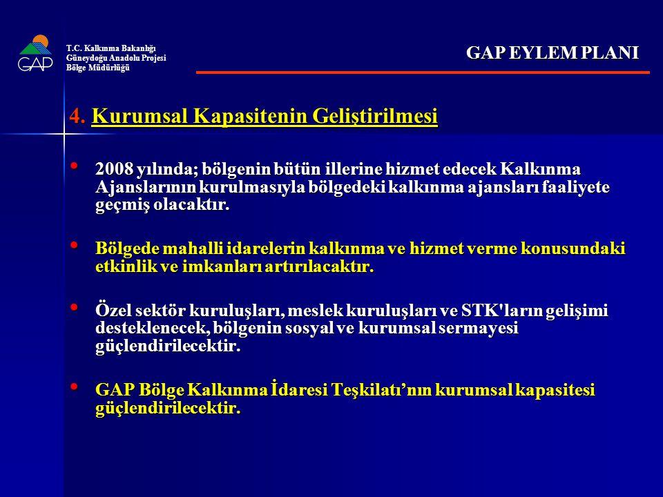 4. Kurumsal Kapasitenin Geliştirilmesi 2008 yılında; bölgenin bütün illerine hizmet edecek Kalkınma Ajanslarının kurulmasıyla bölgedeki kalkınma ajans