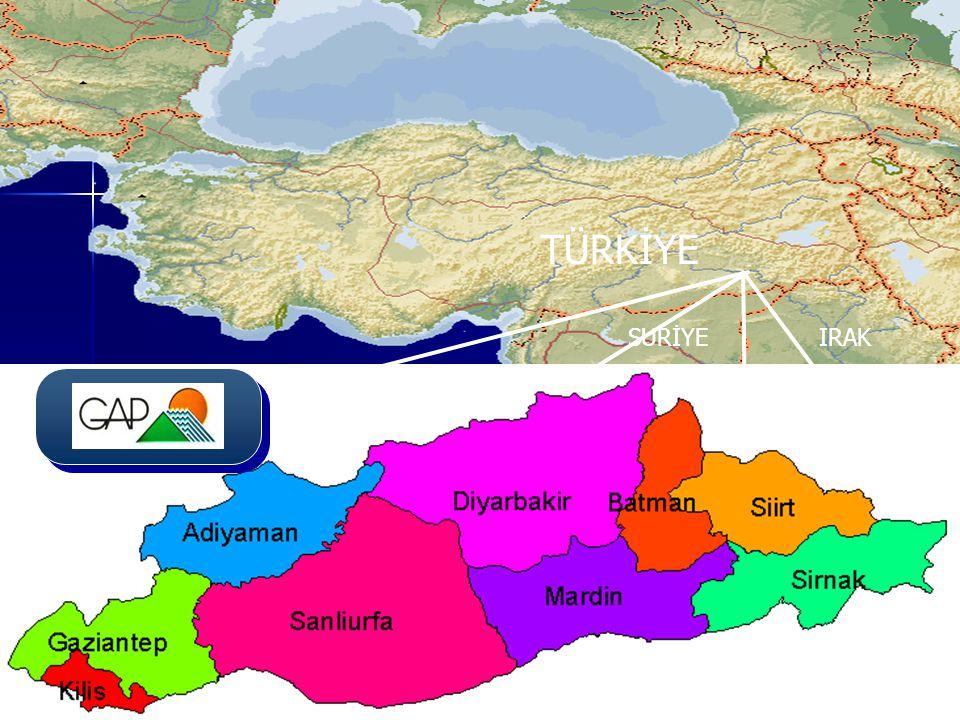 Baraj ve HESİşletmeye Geçiş YılıElektrik Üretimi* Karakaya Barajı ve HES1987169.62 Atatürk Barajı ve HES1993136.45 Kralkızı Barajı ve HES19981.43 Karkamış Barajı ve HES19994.16 Dicle Barajı ve HES19991.76 Birecik Barajı ve HES200021.48 Batman Barajı ve HES20032.77 Toplam337.67 Kaynak: TEİAŞ Genel Müdürlüğü (*) 2010 yılı sonu itibariyle GAP KAPSAMINDA İŞLETMEDE OLAN BARAJLAR T.C.