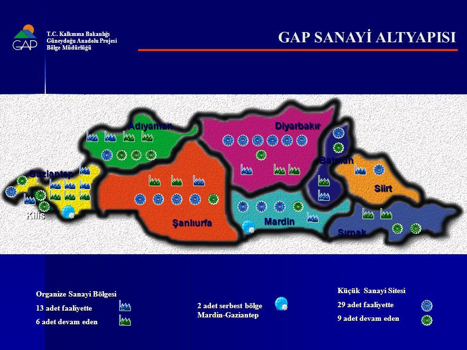 AdıyamanDiyarbakır Mardin Şanlıurfa Gaziantep Şırnak Siirt Batman Kilis 2 adet serbest bölge Mardin-Gaziantep Organize Sanayi Bölgesi 13 adet faaliyette 6 adet devam eden Küçük Sanayi Sitesi 29 adet faaliyette 9 adet devam eden GAP SANAYİ ALTYAPISI T.C.
