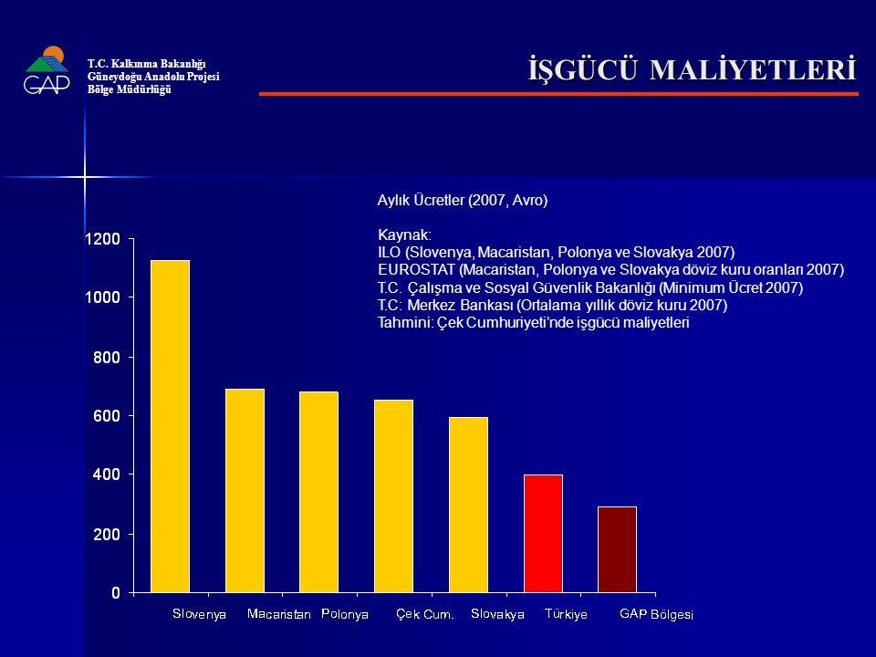 İŞGÜCÜ MALİYETLERİ Aylık Ücretler (2007, Avro) Kaynak: ILO (Slovenya, Macaristan, Polonya ve Slovakya 2007) EUROSTAT (Macaristan, Polonya ve Slovakya döviz kuru oranları 2007) T.C.