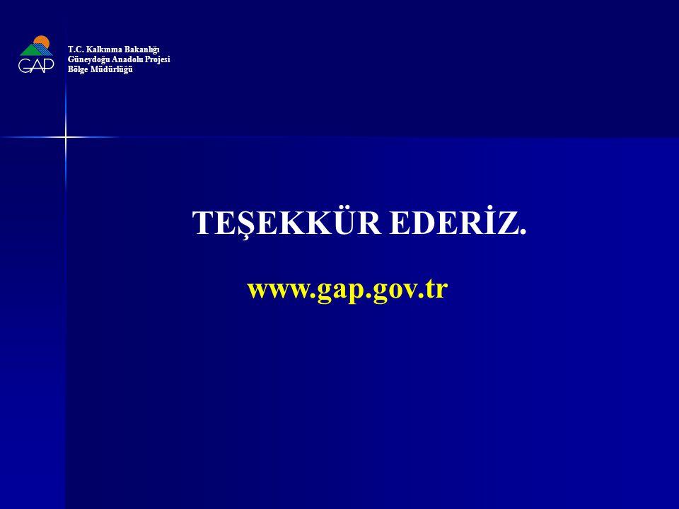 TEŞEKKÜR EDERİZ. www.gap.gov.tr T.C. Kalkınma Bakanlığı Güneydoğu Anadolu Projesi Bölge Müdürlüğü
