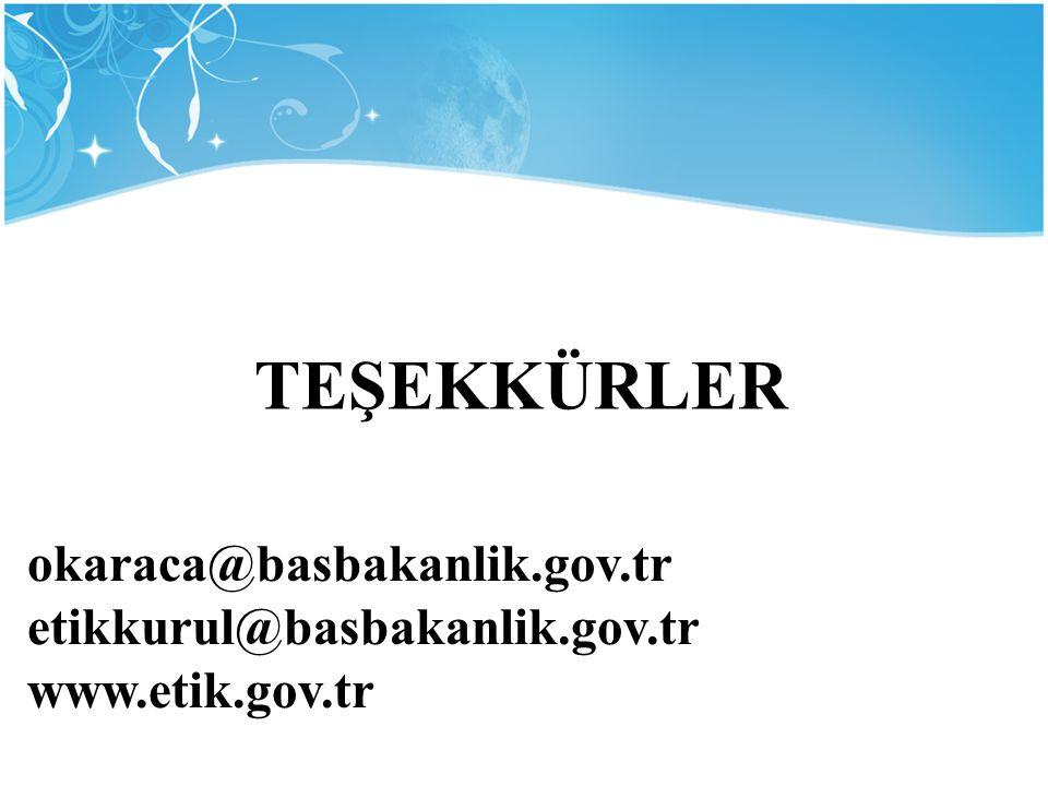 okaraca@basbakanlik.gov.tr etikkurul@basbakanlik.gov.tr www.etik.gov.tr TEŞEKKÜRLER