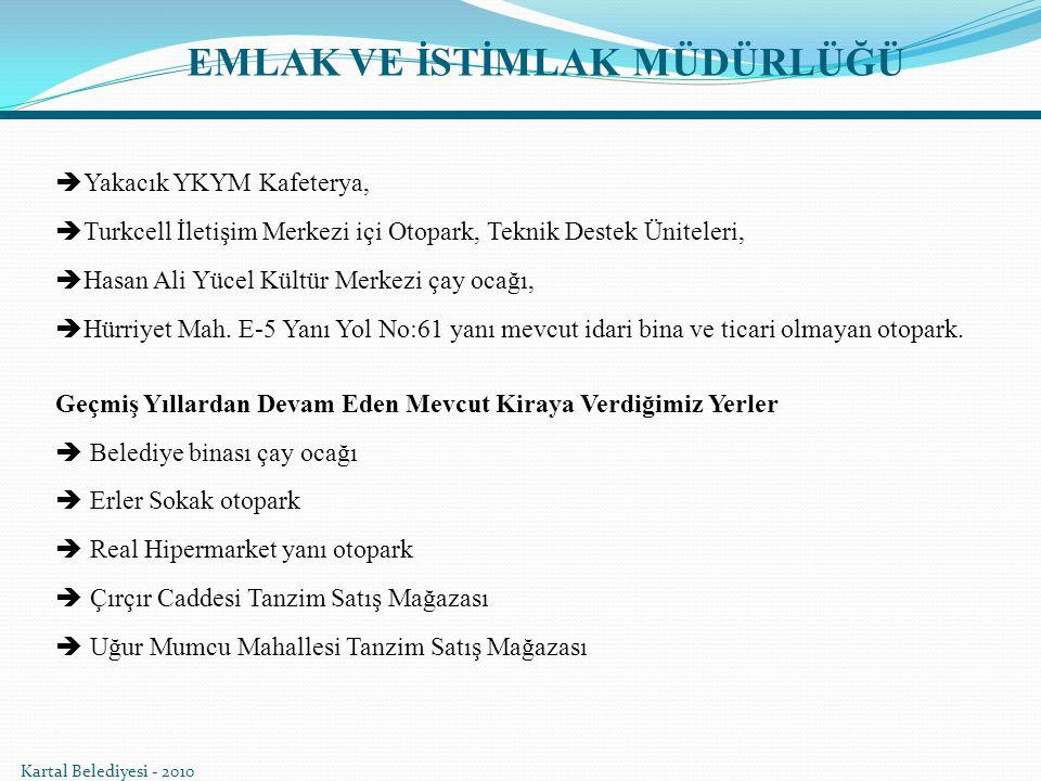 EMLAK VE İSTİMLAK MÜDÜRLÜĞÜ  Yakacık YKYM Kafeterya,  Turkcell İletişim Merkezi içi Otopark, Teknik Destek Üniteleri,  Hasan Ali Yücel Kültür Merke