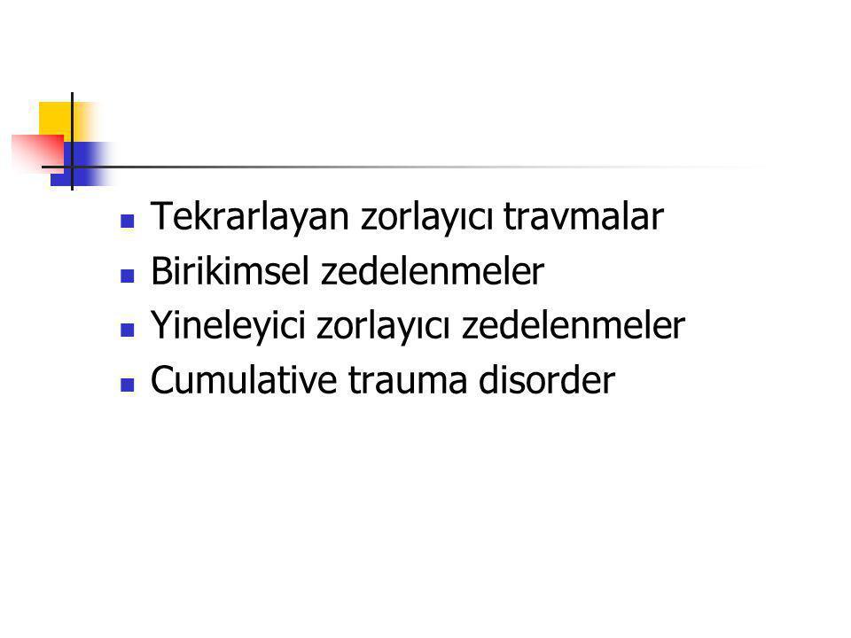Tekrarlayan zorlayıcı travmalar Birikimsel zedelenmeler Yineleyici zorlayıcı zedelenmeler Cumulative trauma disorder
