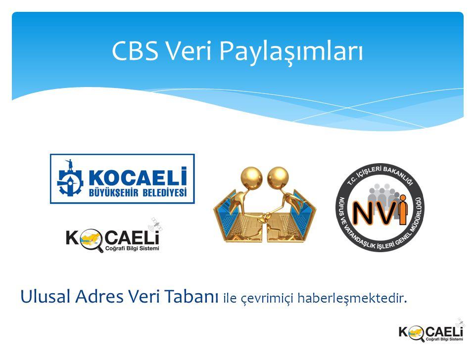 Ulusal Adres Veri Tabanı ile çevrimiçi haberleşmektedir. CBS Veri Paylaşımları