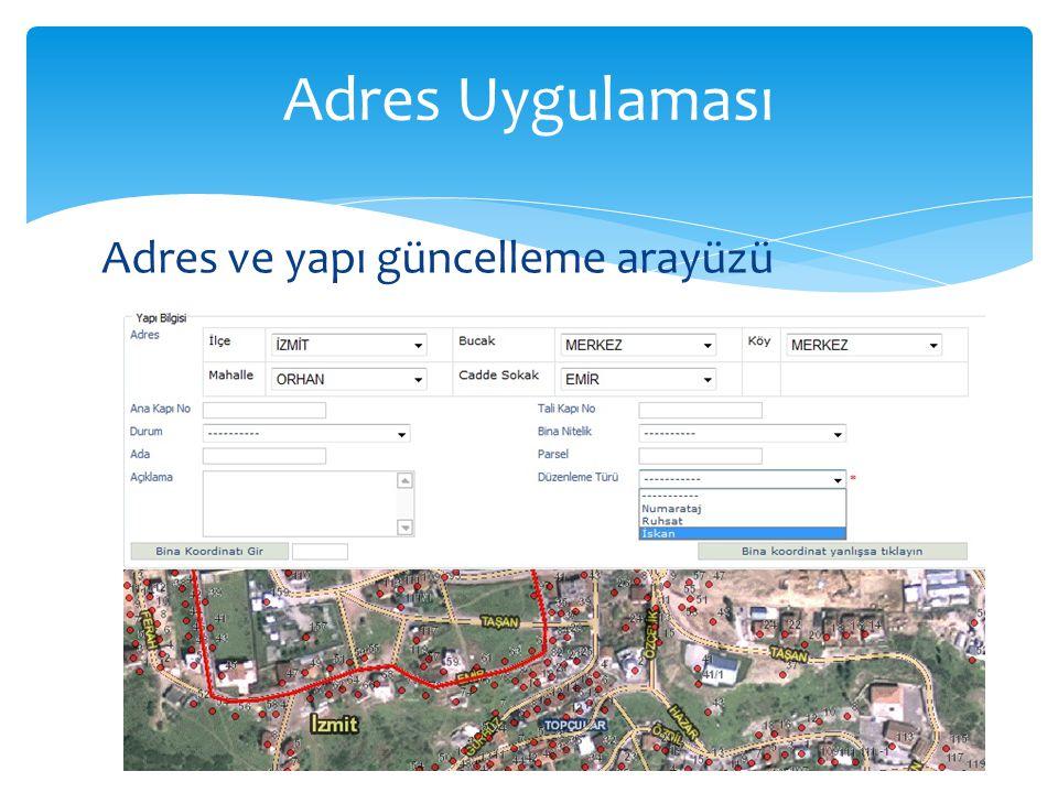 Adres Uygulaması Adres ve yapı güncelleme arayüzü