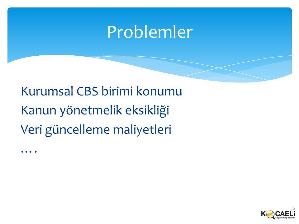 Kurumsal CBS birimi konumu Kanun yönetmelik eksikliği Veri güncelleme maliyetleri …. Problemler