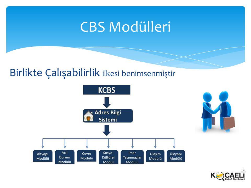 Birlikte Çalışabilirlik ilkesi benimsenmiştir CBS Modülleri