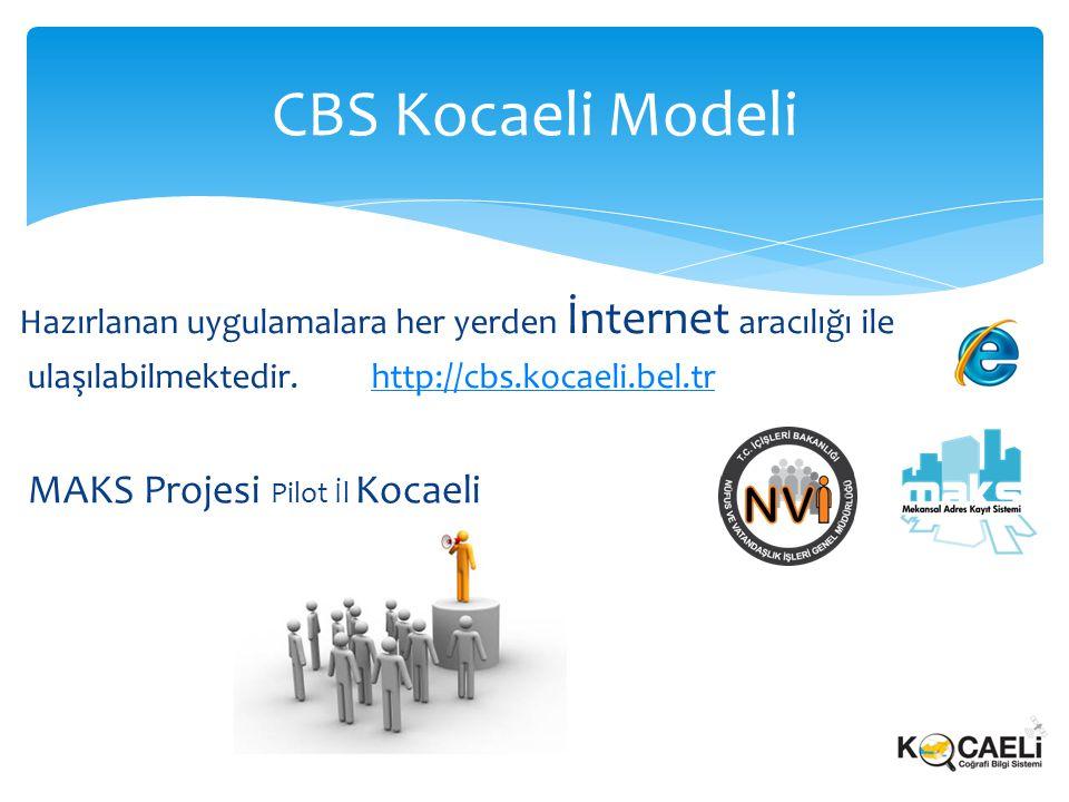 Hazırlanan uygulamalara her yerden İnternet aracılığı ile ulaşılabilmektedir. http://cbs.kocaeli.bel.trhttp://cbs.kocaeli.bel.tr CBS Kocaeli Modeli MA