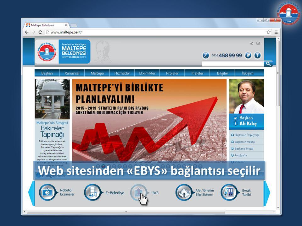Web sitesinden «EBYS» bağlantısı seçilir