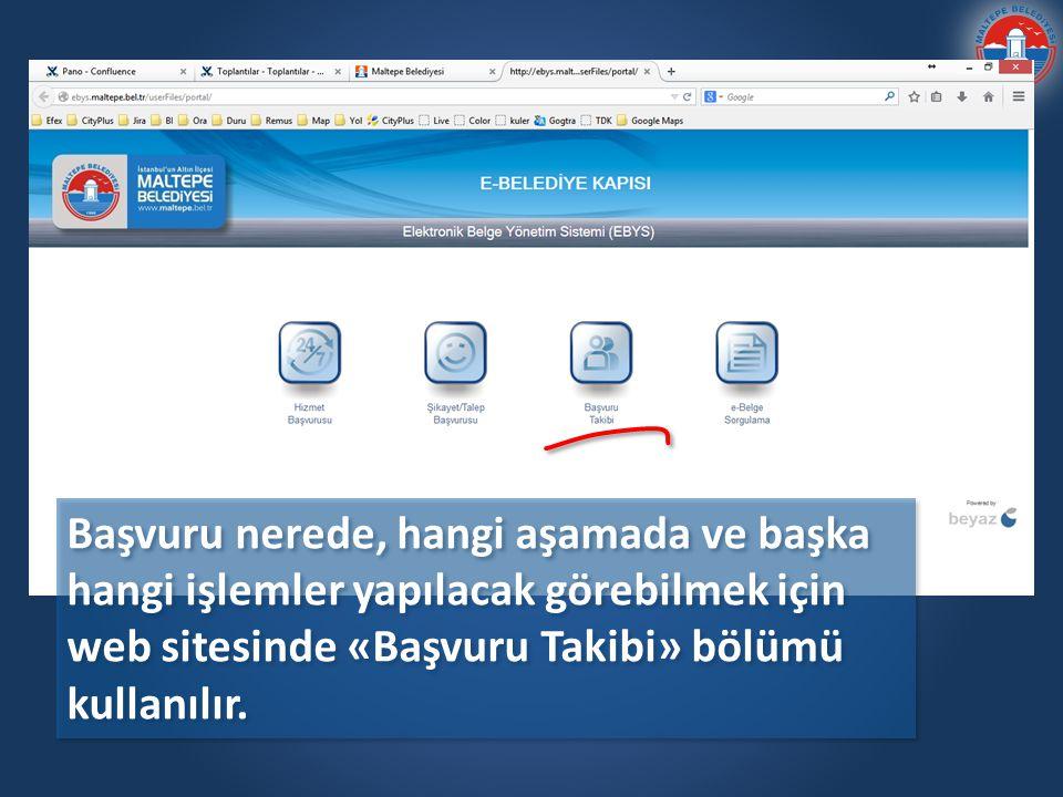 Başvuru nerede, hangi aşamada ve başka hangi işlemler yapılacak görebilmek için web sitesinde «Başvuru Takibi» bölümü kullanılır.