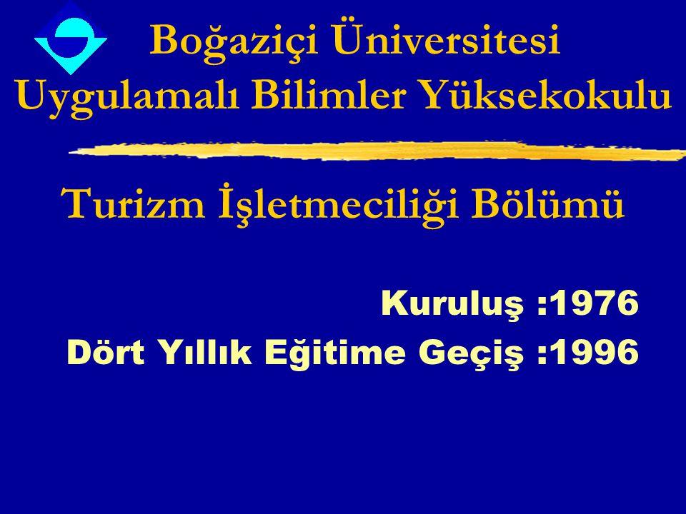 Boğaziçi Üniversitesi Uygulamalı Bilimler Yüksekokulu Turizm İşletmeciliği Bölümü Kuruluş :1976 Dört Yıllık Eğitime Geçiş :1996