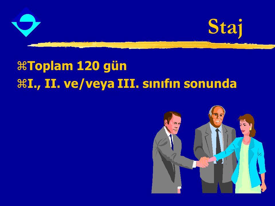 Staj zToplam 120 gün zI., II. ve/veya III. sınıfın sonunda