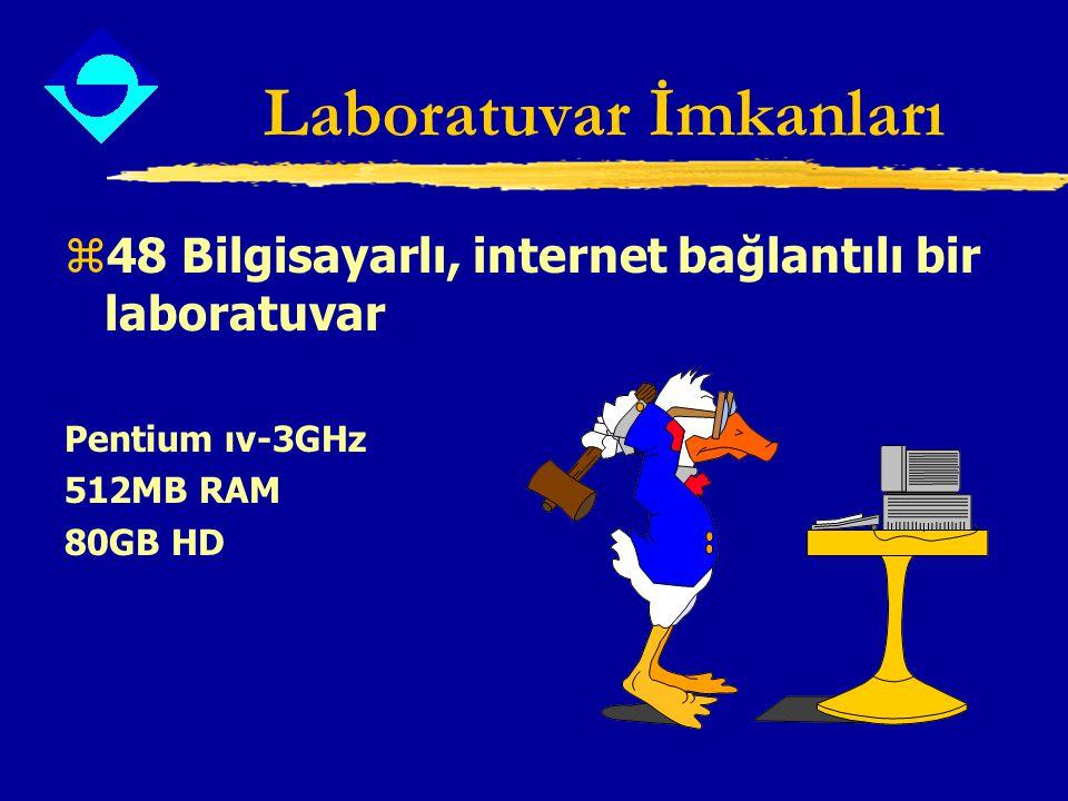 Laboratuvar İmkanları z48 Bilgisayarlı, internet bağlantılı bir laboratuvar Pentium ıv-3GHz 512MB RAM 80GB HD