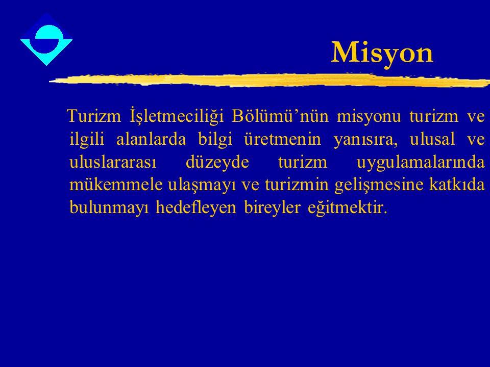Misyon Turizm İşletmeciliği Bölümü'nün misyonu turizm ve ilgili alanlarda bilgi üretmenin yanısıra, ulusal ve uluslararası düzeyde turizm uygulamaları