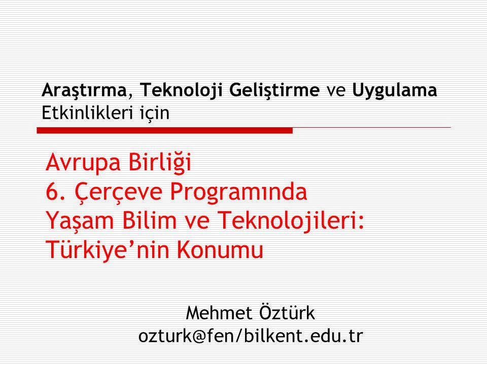 Araştırma, Teknoloji Geliştirme ve Uygulama Etkinlikleri için Avrupa Birliği 6. Çerçeve Programında Yaşam Bilim ve Teknolojileri: Türkiye'nin Konumu M