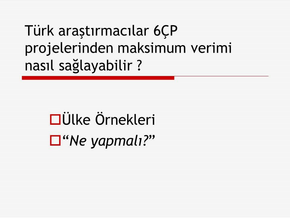 """Türk araştırmacılar 6ÇP projelerinden maksimum verimi nasıl sağlayabilir ?  Ülke Örnekleri  """"Ne yapmalı?"""""""