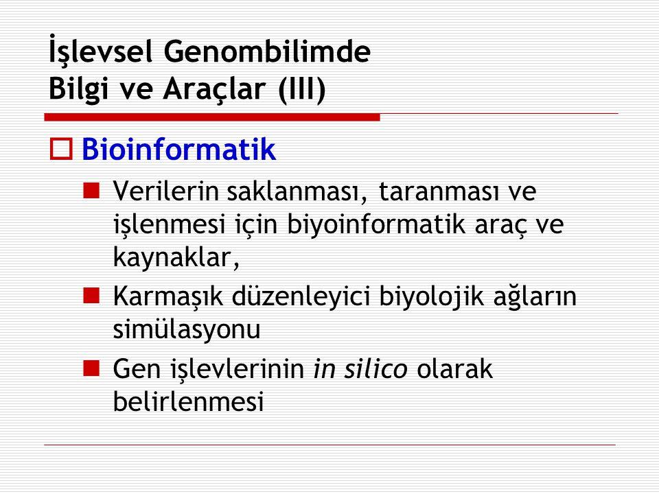 İşlevsel Genombilimde Bilgi ve Araçlar (III)  Bioinformatik Verilerin saklanması, taranması ve işlenmesi için biyoinformatik araç ve kaynaklar, Karma