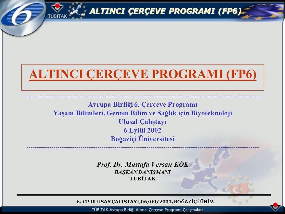 6. ÇP ULUSAY ÇALIŞTAYI,06/09/2002, BOĞAZİÇİ ÜNİV. ALTINCI ÇERÇEVE PROGRAMI (FP6) ---------------------------------------------------------------------