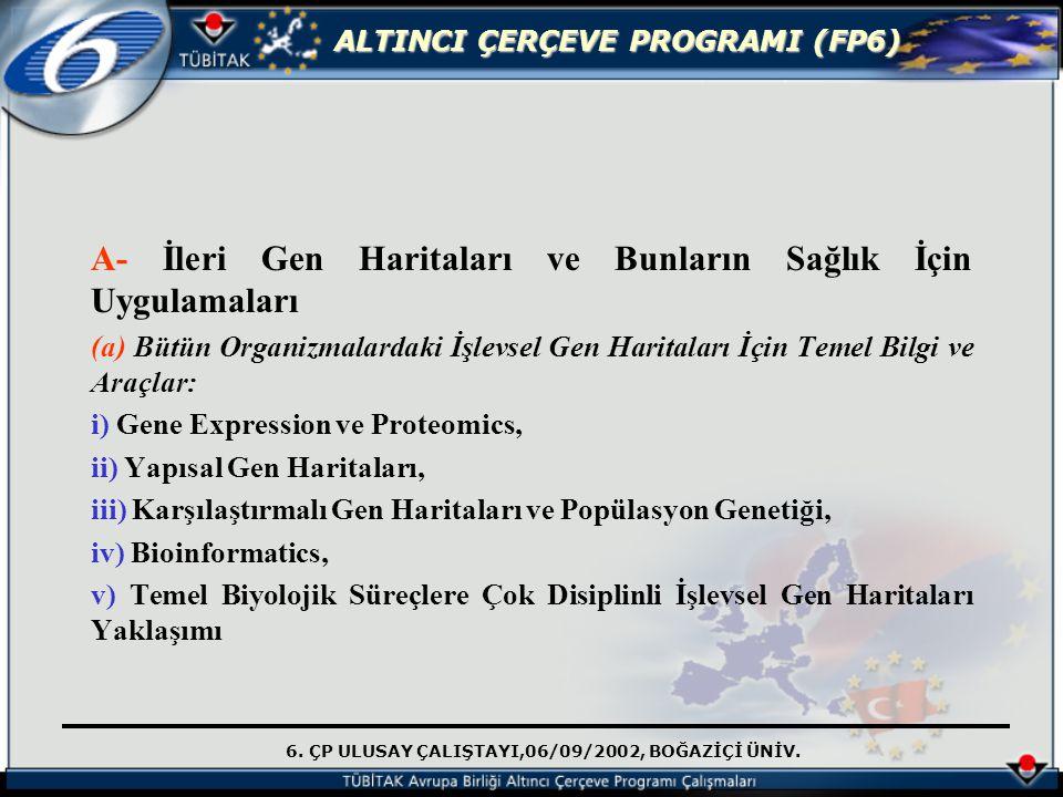 6. ÇP ULUSAY ÇALIŞTAYI,06/09/2002, BOĞAZİÇİ ÜNİV. ALTINCI ÇERÇEVE PROGRAMI (FP6) A- İleri Gen Haritaları ve Bunların Sağlık İçin Uygulamaları (a) Bütü
