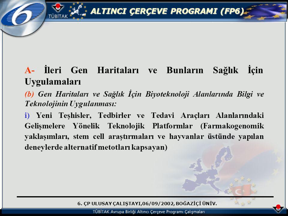 6. ÇP ULUSAY ÇALIŞTAYI,06/09/2002, BOĞAZİÇİ ÜNİV. ALTINCI ÇERÇEVE PROGRAMI (FP6) A- İleri Gen Haritaları ve Bunların Sağlık İçin Uygulamaları (b) Gen