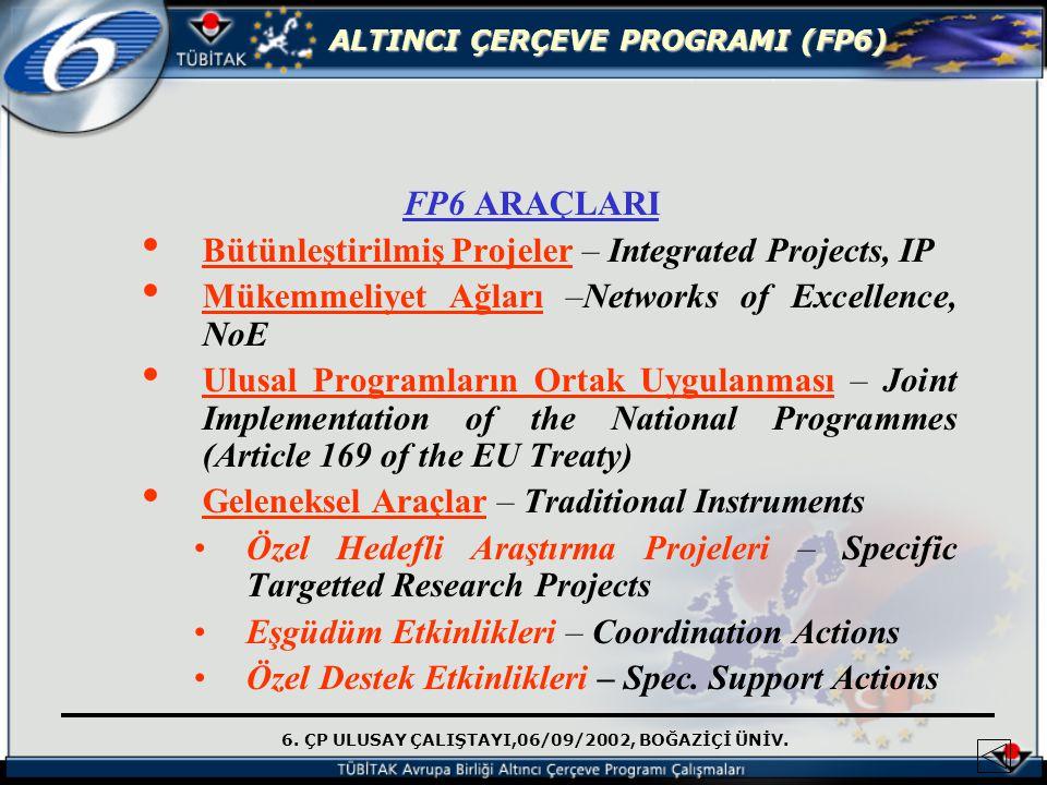 6. ÇP ULUSAY ÇALIŞTAYI,06/09/2002, BOĞAZİÇİ ÜNİV. ALTINCI ÇERÇEVE PROGRAMI (FP6) FP6 ARAÇLARI Bütünleştirilmiş Projeler – Integrated Projects, IP Müke