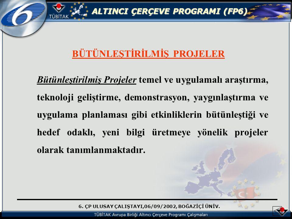 6. ÇP ULUSAY ÇALIŞTAYI,06/09/2002, BOĞAZİÇİ ÜNİV. ALTINCI ÇERÇEVE PROGRAMI (FP6) BÜTÜNLEŞTİRİLMİŞ PROJELER Bütünleştirilmiş Projeler temel ve uygulama