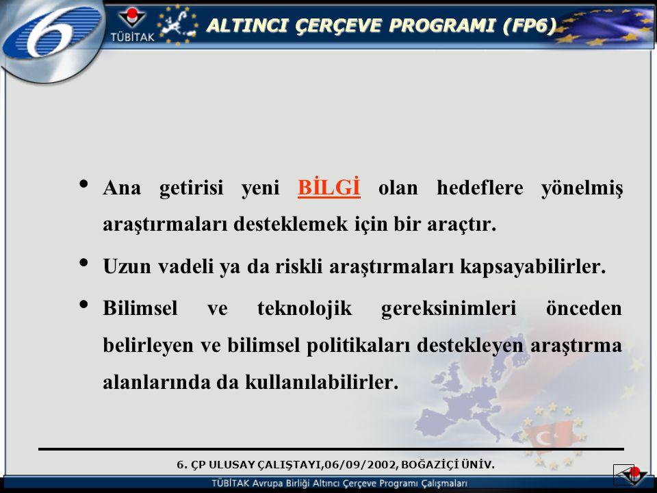 6. ÇP ULUSAY ÇALIŞTAYI,06/09/2002, BOĞAZİÇİ ÜNİV. ALTINCI ÇERÇEVE PROGRAMI (FP6) Ana getirisi yeni BİLGİ olan hedeflere yönelmiş araştırmaları destekl