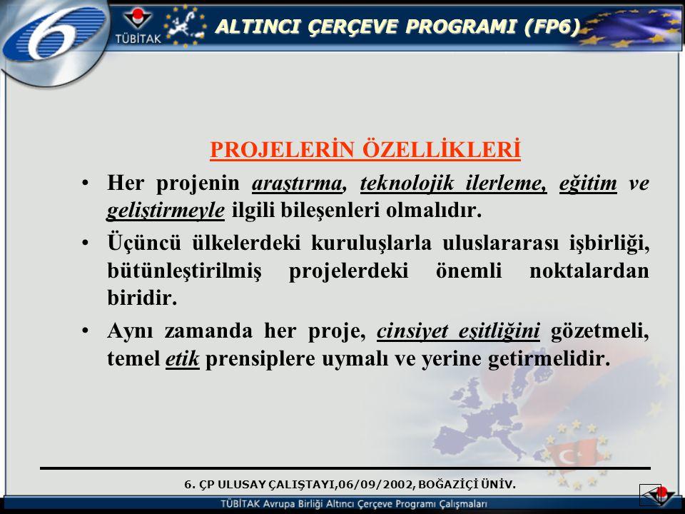 6. ÇP ULUSAY ÇALIŞTAYI,06/09/2002, BOĞAZİÇİ ÜNİV. ALTINCI ÇERÇEVE PROGRAMI (FP6) PROJELERİN ÖZELLİKLERİ Her projenin araştırma, teknolojik ilerleme, e