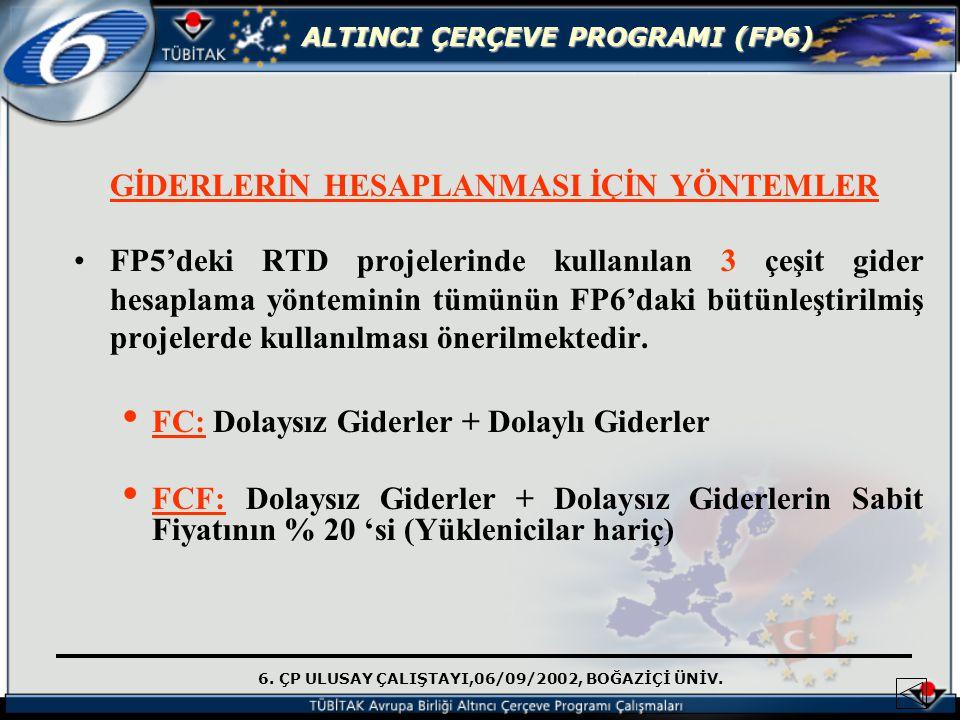 6. ÇP ULUSAY ÇALIŞTAYI,06/09/2002, BOĞAZİÇİ ÜNİV. ALTINCI ÇERÇEVE PROGRAMI (FP6) GİDERLERİN HESAPLANMASI İÇİN YÖNTEMLER FP5'deki RTD projelerinde kull
