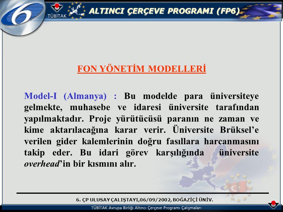 6. ÇP ULUSAY ÇALIŞTAYI,06/09/2002, BOĞAZİÇİ ÜNİV. ALTINCI ÇERÇEVE PROGRAMI (FP6) FON YÖNETİM MODELLERİ Model-I (Almanya) : Bu modelde para üniversitey