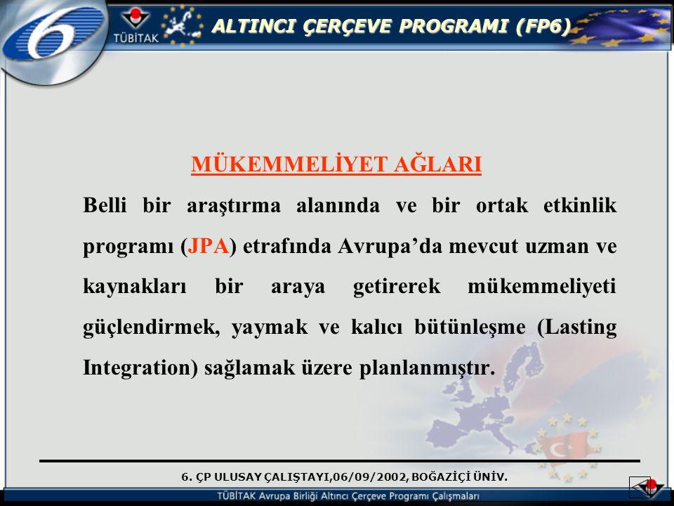 6. ÇP ULUSAY ÇALIŞTAYI,06/09/2002, BOĞAZİÇİ ÜNİV. ALTINCI ÇERÇEVE PROGRAMI (FP6) MÜKEMMELİYET AĞLARI Belli bir araştırma alanında ve bir ortak etkinli