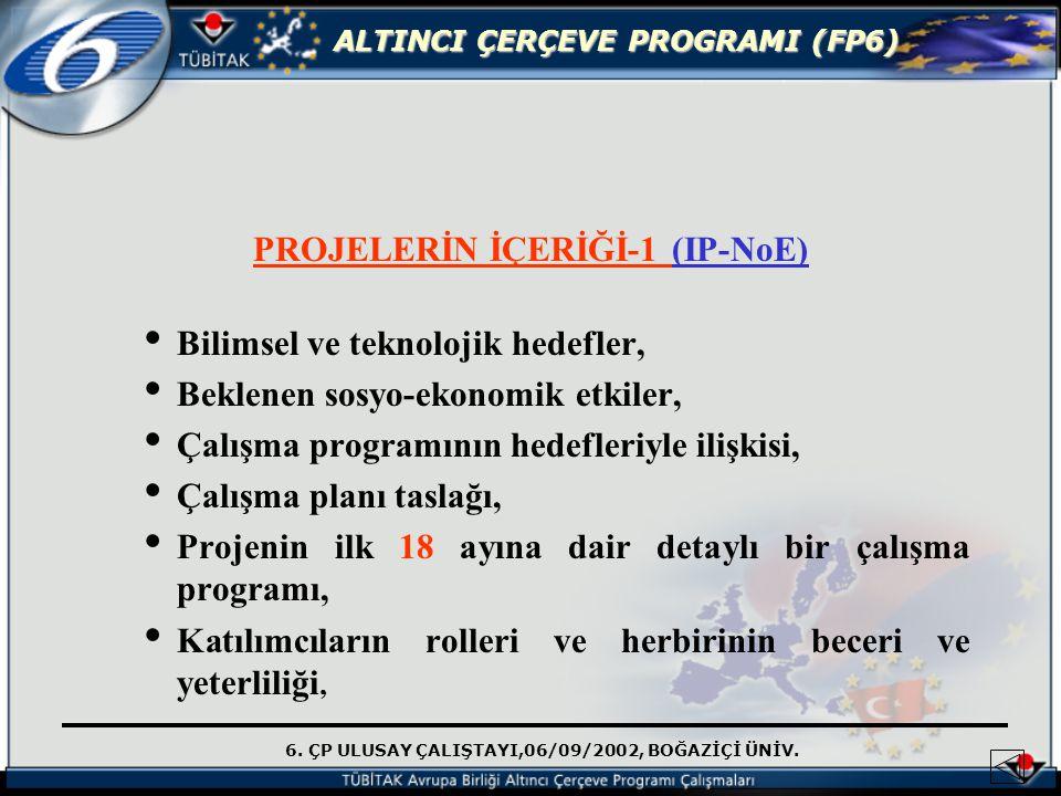 6. ÇP ULUSAY ÇALIŞTAYI,06/09/2002, BOĞAZİÇİ ÜNİV. ALTINCI ÇERÇEVE PROGRAMI (FP6) PROJELERİN İÇERİĞİ-1 (IP-NoE) Bilimsel ve teknolojik hedefler, Beklen