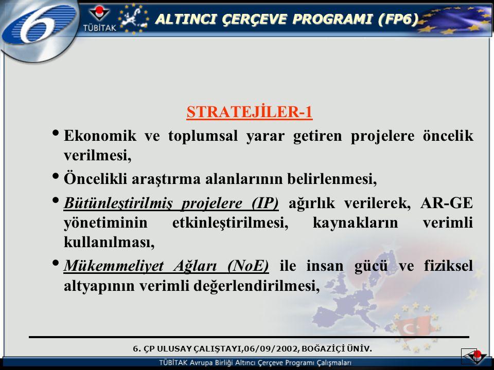 6. ÇP ULUSAY ÇALIŞTAYI,06/09/2002, BOĞAZİÇİ ÜNİV. ALTINCI ÇERÇEVE PROGRAMI (FP6) STRATEJİLER-1 Ekonomik ve toplumsal yarar getiren projelere öncelik v
